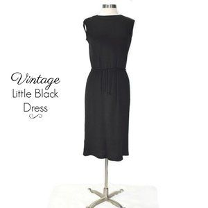 VINTAGE Janzen Black Mod 60s Black Knit Midi Dress